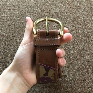 fossil Patch Work Leather Belt Size Small